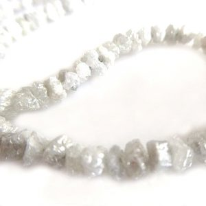 white uncut raw diamond beads