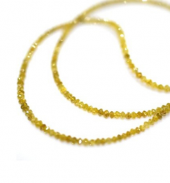 dark yellow diamond faceted beads necklace