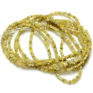 yellow raw diamond beads strand