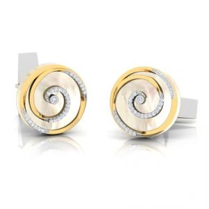 14k yellow gold diamond cufflinks