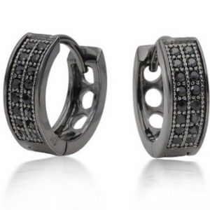 black diamonds men's hoop earrings