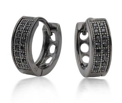 0 32 Carat Black Diamonds Men S Hoop Earrings In Rhodium 14k White Gold And Diamond Star Design Hip Hop Ring0 21 Natural