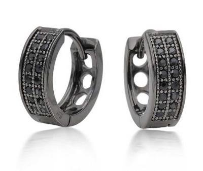 black diamonds men's hoop earrings
