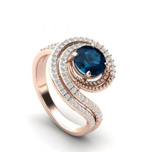 london blue topaz rose gold ring