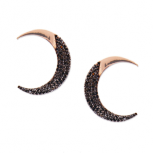 black diamonds half moon earring