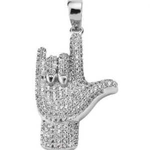 I love you gesture diamonds pendants