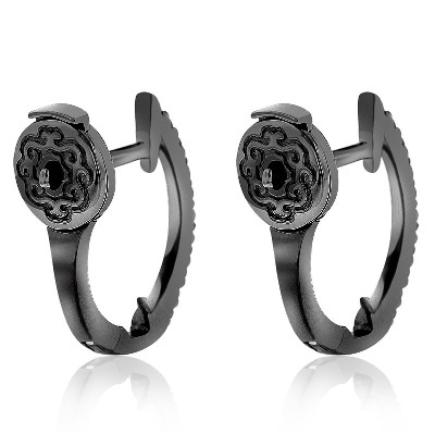 black diamond hoop huggie earrings