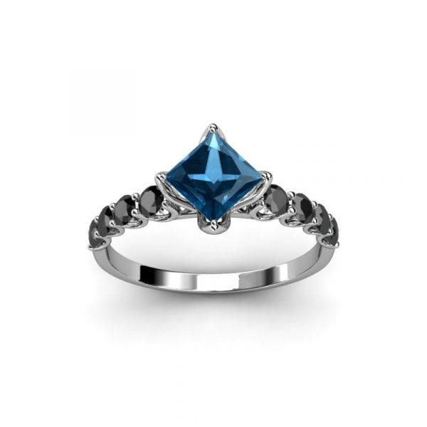 princess cut blue topaz ring