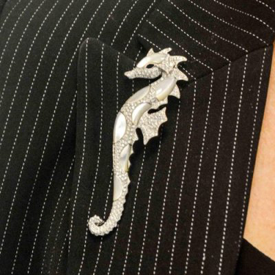 seahorse diamonds brooch for him
