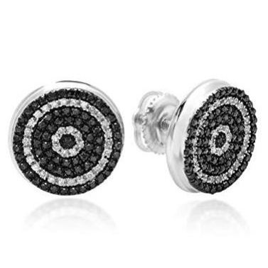 black and white diamonds men's stud earrings