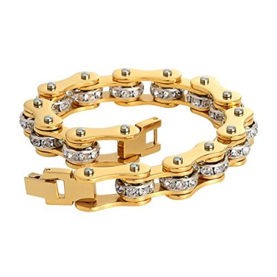 biker chain hip hop diamond bracelet
