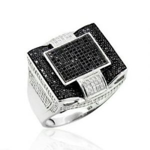 Black And White Diamond Mens Ring