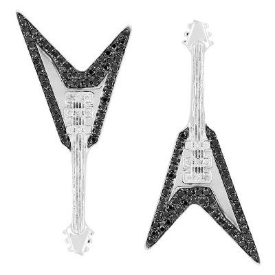 guitar shape black diamond earrings