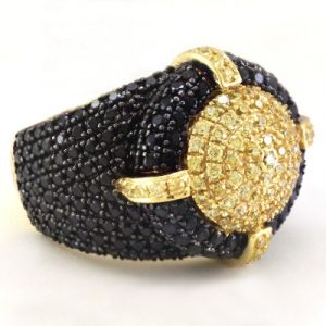 men's hip hop black diamond ring