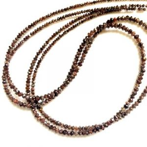 Reddish Brown Diamond Faceted Beads Strand