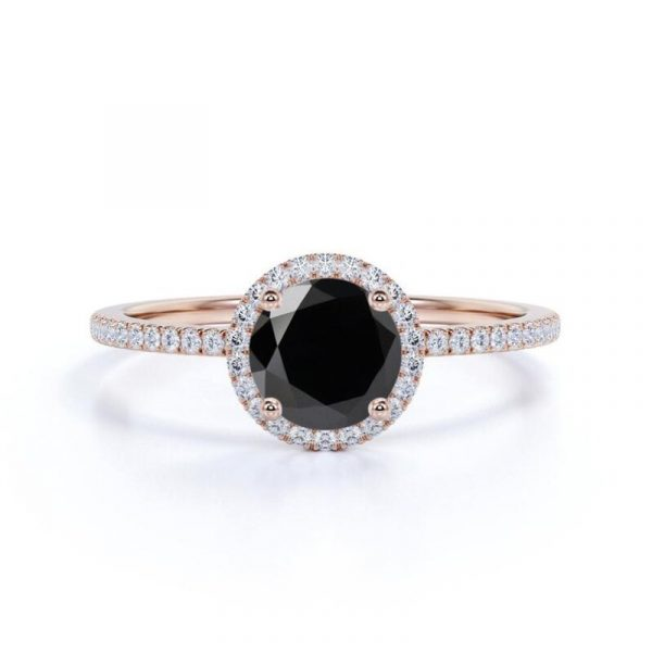 Round Black Diamond Halo Ring