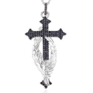 14k white gold black diamond cross pendant