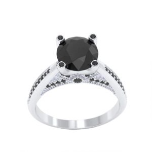2ct 10k white gold black diamond ring