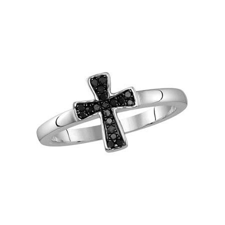 flared black diamond cross ring