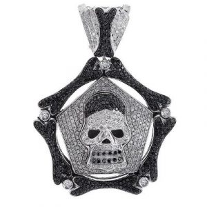 black diamond hip hop skull pendant