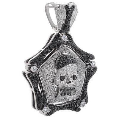 black diamond hip hop skull pendant
