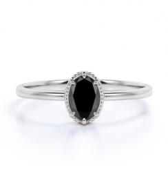 oval black diamond engagement ring