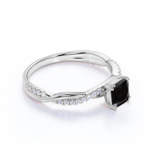 princess black diamond engagement ring