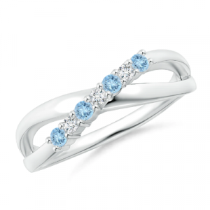 round aquamarine crossover ring