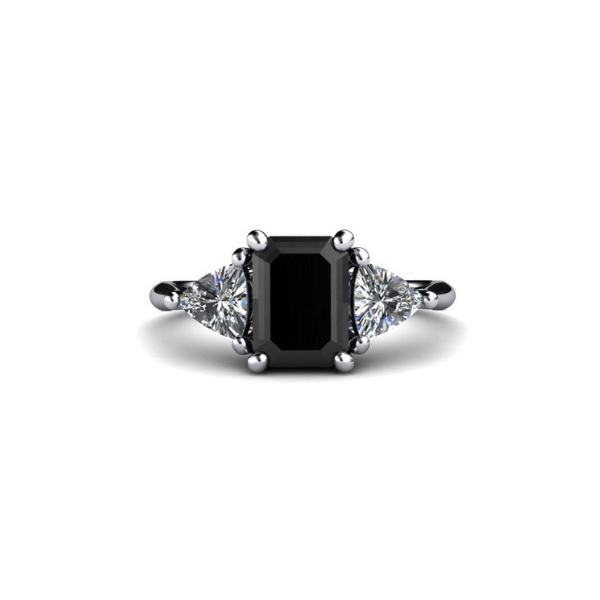 1.50ct black diamond emerald cut ring