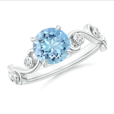 aquamarine diamond scroll ring