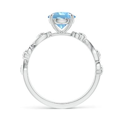 aquamarine diamond scroll ring