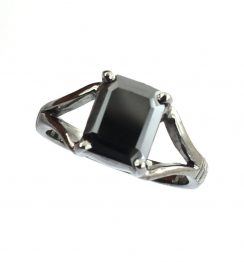 2 ct emerald cut black diamond ring