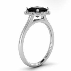 princess cut black diamond ring