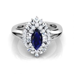 marquise cut blue sapphire ring