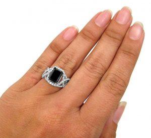 black diamond emerald cut ring