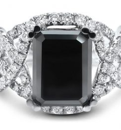 black diamond emerald cut ring