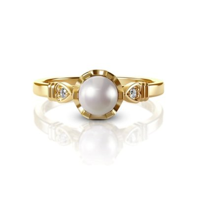 yellow gold diamond pearl ring