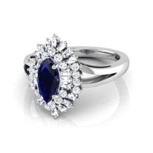 marquise cut blue sapphire ring