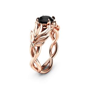 Black Diamond Leaves Engagement Ring