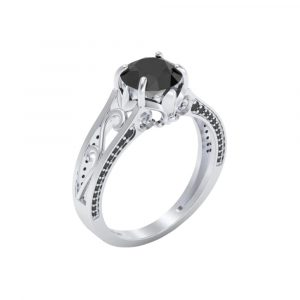 2.50ct engagement rings with black diamonds on the side