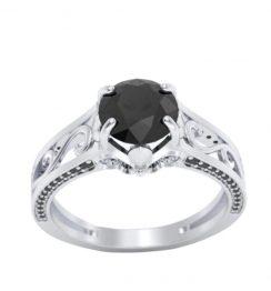 black diamond white gold ring