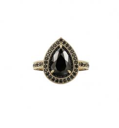 2ct diamond ring with black diamond halo