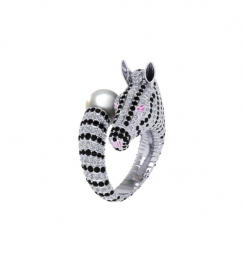 zebra pearl ring