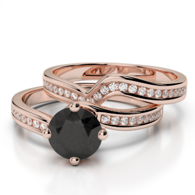 rose gold black diamond bridal set