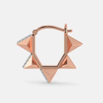 14k rose gold diamond hoop earring