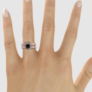 rose gold black diamond bridal set