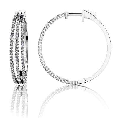 3 row diamond hoop earrings