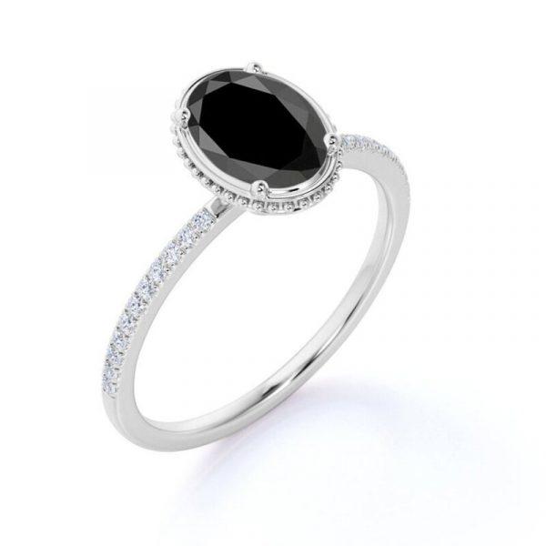 oval shape black diamond ring