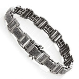 men's black diamond bracelet