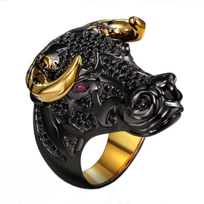 bull hip hop diamond ring